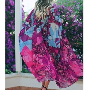 New Stained Glass Kimono Swim Cover up Duster